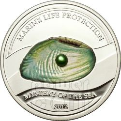 PEARL GREEN Mystery Of The Sea Marine Life Silber Münze 5$ Palau 2012