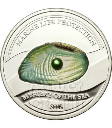 PERLA VERDE Mistery of The Sea Marine Life Moneta Argento 5$ Palau 2012