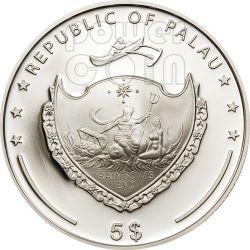 PEARL GREEN Mystery Of The Sea Marine Life Moneda Plata 5$ Palau 2012