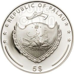 PEARL GREEN Mystery Of The Sea Marine Life Silver Coin 5$ Palau 2012