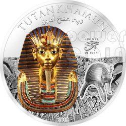 TUTANKHAMON Faraone Storia Egitto Moneta 1$ Cook Islands 2012