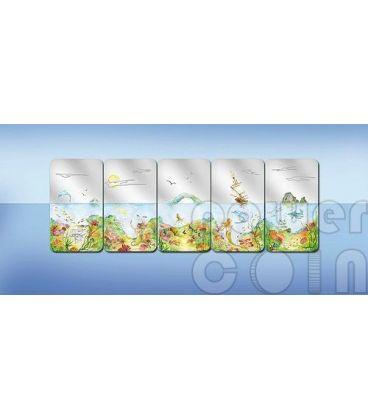 ENDLESS PARADISE Paradiso Infinito Set Cinque 5 Monete Argento 2$ Palau 2012