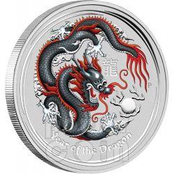 DRAGON Black Berlin World Money Fair WMF Show 1 Oz Plata Proof Moneda 1$ Australia 2012