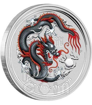 DRAGONE Dragon World Money Fair WMF Berlino Moneta Argento 1$ Australia 2012