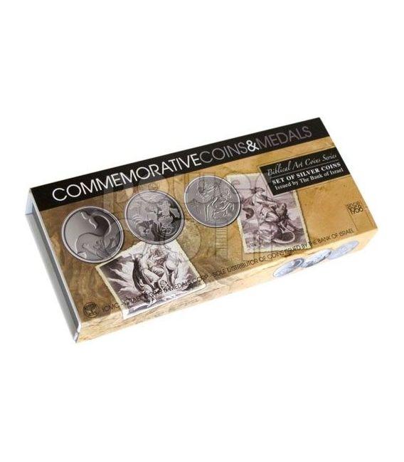 ARTE BIBLICA Giona Elia Sansone Bibbia Set 3 Monete Argento Israele 2011