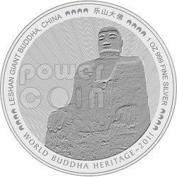 BUDDHA GIGANTE DI LESHAN Sichuan Cina World Heritage Moneta Argento Bhutan 2011