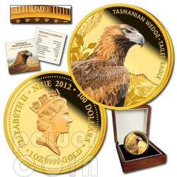 TASMANIAN WEDGE TAILED EAGLE Extinct Endangered 1oz Gold Proof Coin 100$ Niue 2012