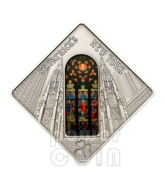 SAINT PATRICK CATHEDRAL New York Holy Windows Silver Coin 10$ Palau 2012