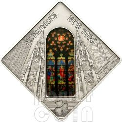 SAINT PATRICK CATHEDRAL New York Holy Windows Silver Coin 10$ Palau 2012