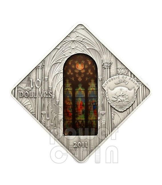 CATTEDRALE SAN PATRIZIO St Patrick New York Holy Windows Moneta Argento 10$ Palau 2012