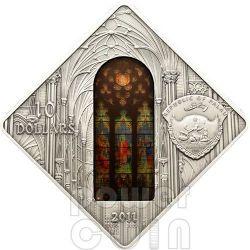 SAINT PATRICK CATHEDRAL New York Holy Windows Серебро Монета 10$ Палау 2012
