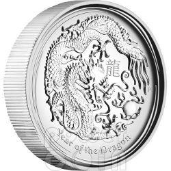 DRAGON HIGH RELIEF Lunar Year Series 1oz Moneda Plata 1$ Australia 2012