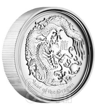 DRAGONE ALTI RILIEVI Dragon Lunar Serie Moneta Argento 1oz 1$ Australia 2012