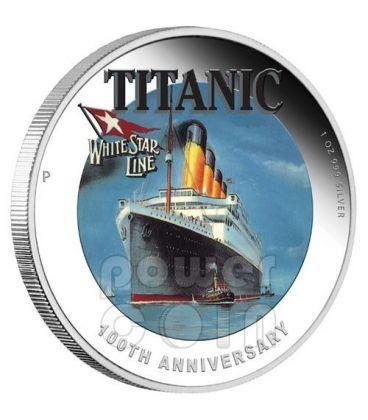 TITANIC 100 Anniversario Transatlantico RMS White Star Line Moneta Argento 1$ Tuvalu 2012