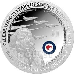 RNZAF Royal Air Force 75 Anniversario Moneta Argento 1oz Proof 1$ Nuova Zelanda 2012