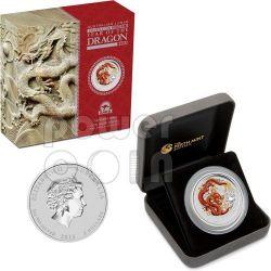 DRAGON Perth ANDA Show Special Edition 2 oz Moneda Plata 2$ Australia 2012