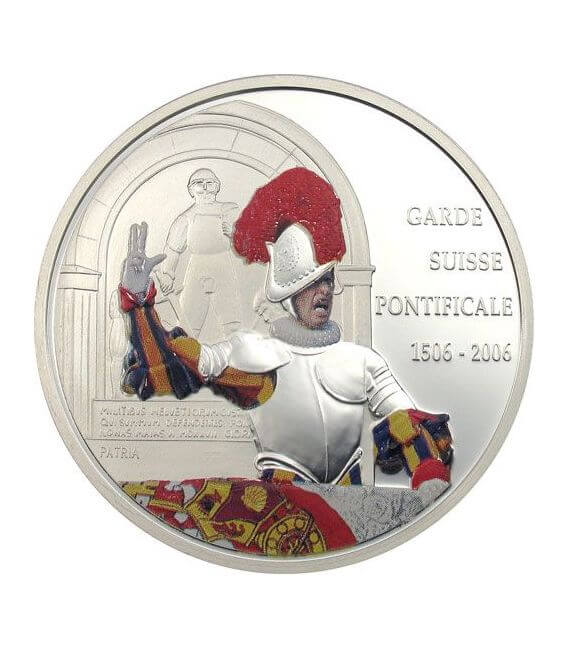 SWISS GUARD Swear 500 Years Papal Silber Münze 10 Fr Congo 2006