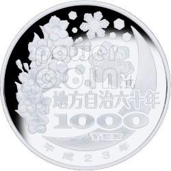 AKITA 47 Prefectures (19) Plata Proof Moneda 1000 Yen Japan 2011