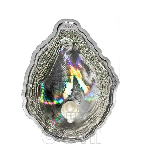 PERLA OSTRICA Pearl Ologramma Convessa Moneta Argento 5$ Palau 2011