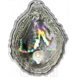PEARL OYSTER Shells of the Sea Hologram Convex Silver Coin 5$ Palau 2011