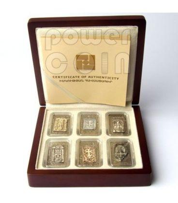 CROSS STONES Khachkar Croci Pietra Marmo Set 6 Monete Argento 1000 Dram Armenia 2011