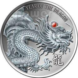 DRAGON RED FIRE Ruby Gemstone 2 Oz Silber Münze 2$ Fiji 2012