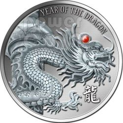 DRAGON RED FIRE Ruby Gemstone 2 Oz Silver Coin 2$ Fiji 2012