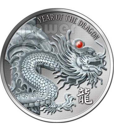 DRAGON RED FIRE Ruby Gemstone 2 Oz Silver Coin 2$ Fiji 2012