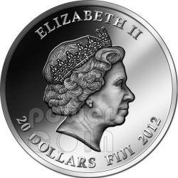 DRAGON RED FIRE Ruby Gemstone 2 Oz Moneda Plata 2$ Fiji 2012