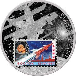 STARS FLIGHT Esplorazione Spazio Francobollo Vostok Ologramma Moneta Argento 1$ Niue 2012