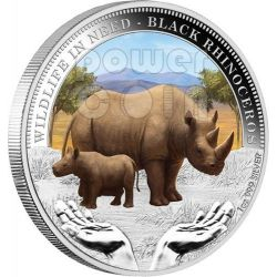 BLACK RHINOCEROS Rhino Wildlife In Need Silver Coin 1$ Tuvalu 2012