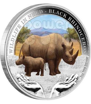 BLACK RHINOCEROS Rhino Wildlife In Need Silver Coin 1$ Tuvalu 2012