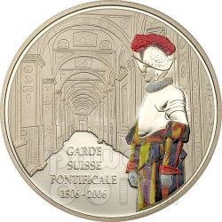 GUARDIA SVIZZERA Loggia 500 Anni Moneta 5 Fr Congo 2006