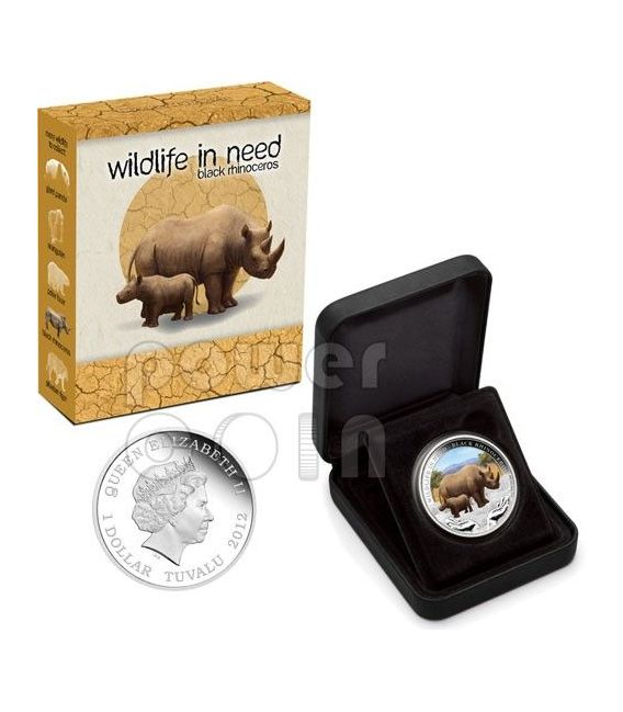RINOCERONTE NERO Black Rhino Wildlife In Need Moneta Argento 1$ Tuvalu 2012