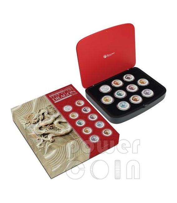 Dragon Lunar Year 10 Ten Coin Set 1 Oz Silver Coins 1