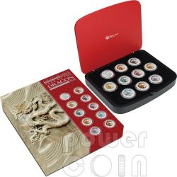 DRAGONE Anno Lunare Set 10 Monete Argento 1$ Australia 2012