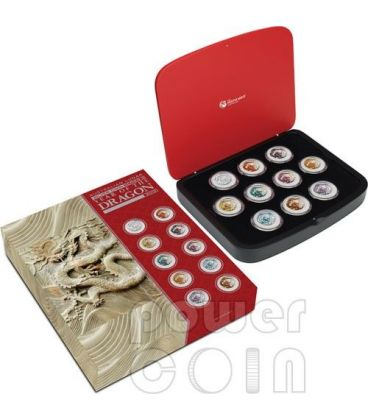 DRAGON Lunar Year 10 Ten Coin Set 1 Oz Silver Coins 1$ Australia 2012