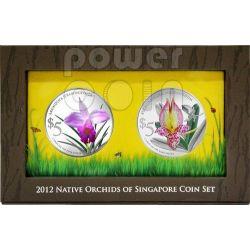 ORCHIDS Native 2 Silber Proof Münze Set 5$ Singapore 2012