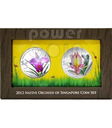 ORCHIDEE Native Set 2 Monete Argento Proof 5$ Singapore 2012