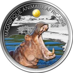 HIPPO Hyppo Beautiful African Wildlife Moneda Plata 1000 Francs Niger 2012