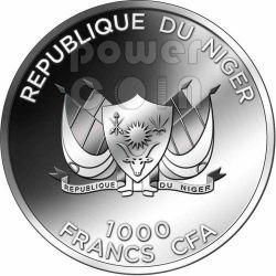HIPPO Hyppo Beautiful African Wildlife Серебро Монета 1000 Франков Нигер 2012