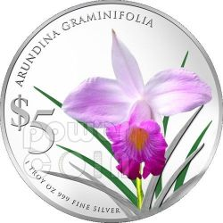 ORCHIDS Native 2 Plata Proof Moneda Set 5$ Singapore 2012