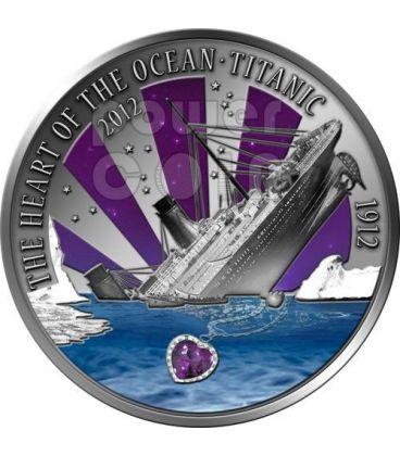 TITANIC Cuore Oceano Ametista Transatlantico Moneta Argento 2 Oz 20$ Fiji 2012
