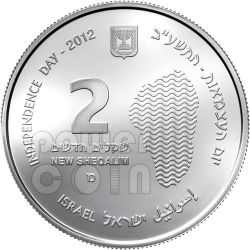 THE SEA OF GALILEE Tiberias 64th Anniversary Серебро Proof Монета 2 Нис Израиль  2012
