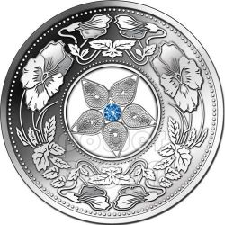 JEWEL FILIGREE Swarovski Zirconia Silver Coin 10$ Fiji 2012