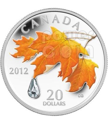 SUGAR RAINDROP Goccia Di Cristallo Swarovski Moneta Argento 20$ Canada 2012