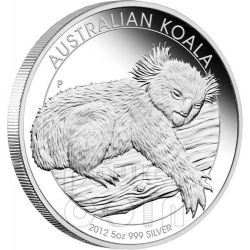 AUSTRALIAN KOALA Plata Proof Moneda 5 Oz 8$ Australia 2012