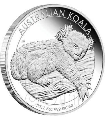 AUSTRALIAN KOALA Silver Proof Coin 5 Oz 8$ Australia 2012