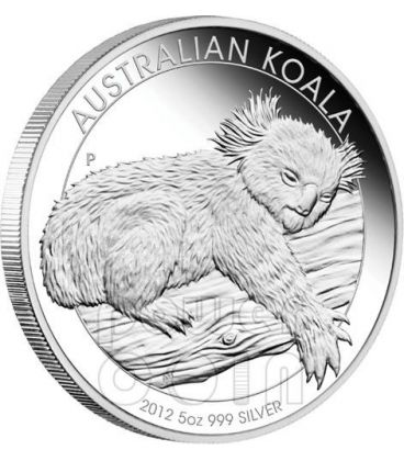KOALA AUSTRALIANO Moneta Argento Proof 5 Oz 8$ Australia 2012