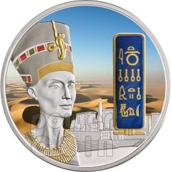 NEFERTITI Egypt Queen Nofretete Silver Gold Palladium Gemstone Coin 2 Oz 50$ Fiji 2012
